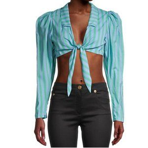 WE WORE WHAT bisou top dusk blue stripes
